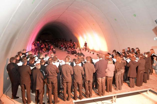 Cervera - Concert al túnel de l'autovia (Foto: Paeria de Cervera)